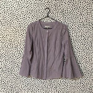 Milly Striped Purple Button Down Bell Sleeve Top